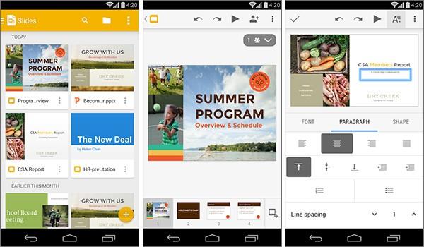 Screenshot per l'applicazione Presentazioni, lanciata oggi da Google su Play Store