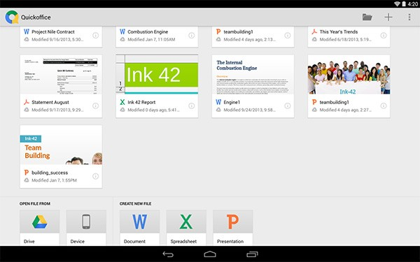 L'interfaccia dell'applicazione Quickoffice su tablet Android