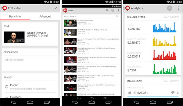 Screenshot per l'interfaccia dell'applicazione Studio Creativi YouTube