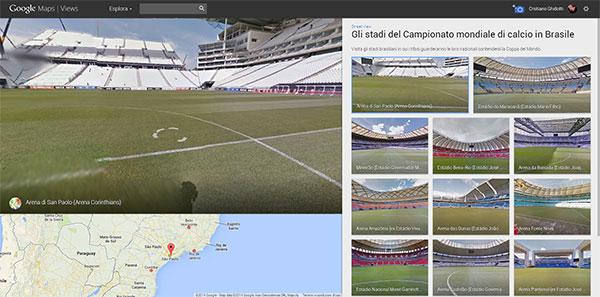 Gli stadi dei mondiali di calcio in Brasile su Street View