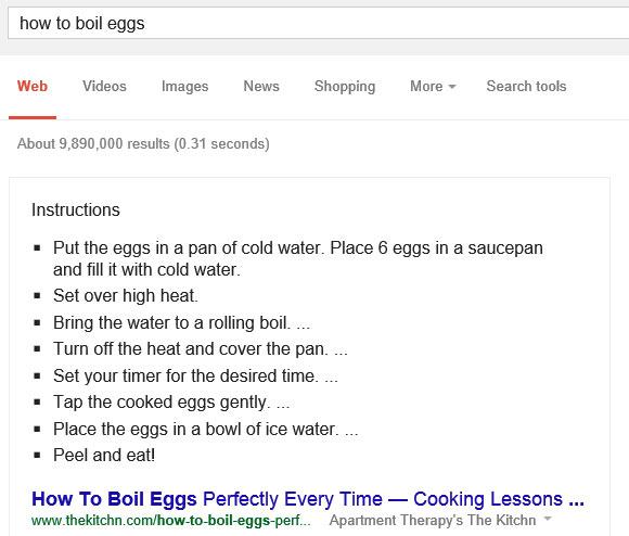 La guida su come far bollire le uova, mostrata da Google direttamente nelle SERP del motore di ricerca