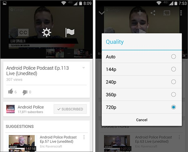 L'aggiornamento alla versione 5.7 dell'applicazione YouTube su dispositivi Android permette di selezionare la qualità del video da riprodurre in streaming