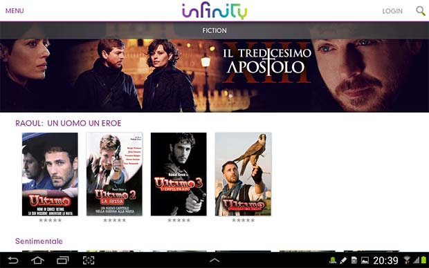 Screenshot per la versione Android dell'applicazione Infinity