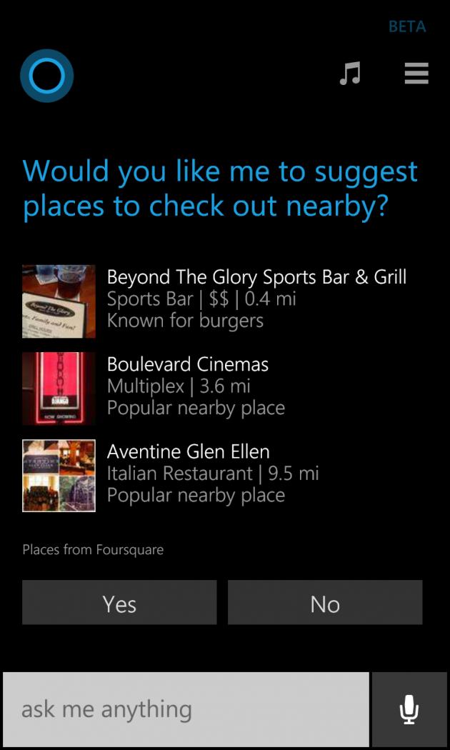 Cortana suggerisce i punti di interesse, usando i dati di Foursquare.