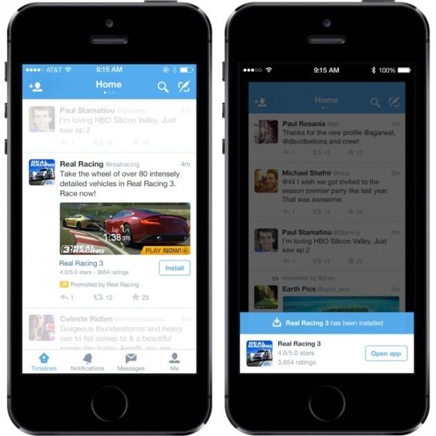 Tweet con il pulsante per il download dell'app.