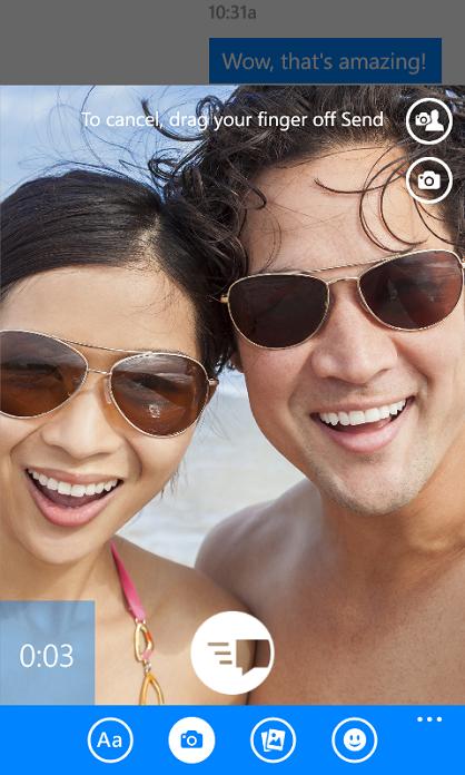 Video messaggio in Facebook Messenger per Windows Phone 8.