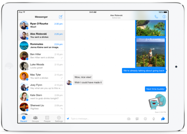 Facebook Messenger per iPad.