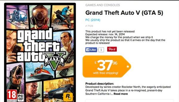 Screenshot dal rivenditore danese che indica l'uscita di GTA 5 per PC