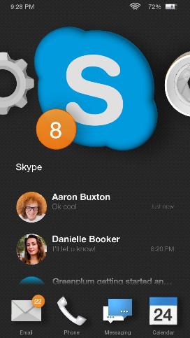 L'icona 3D di Skype su Home Carousel.