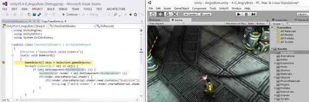 UnityVS in Visual Studio.