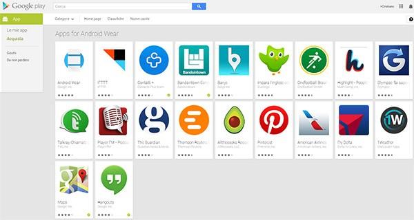 Le applicazioni di Android Wear disponibili sulla piattaforma Google Play
