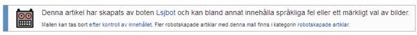 Il disclaimer presente in uno dei milioni di articoli scritti dal bot svedese di Wikipedia.