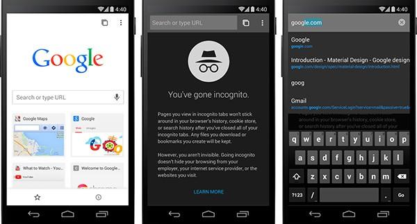 L'interfaccia Material Design integrato nel browser Chrome Beta per Android
