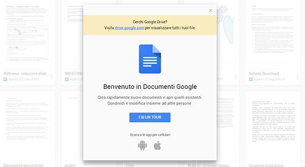 Un messaggio dà il benvenuto agli utenti nella nuova versione Web di Documenti Google