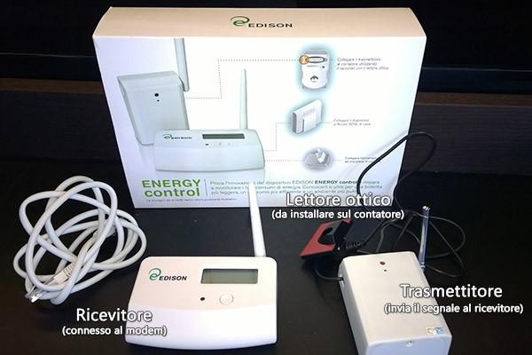 Il contenuto del kit Edison Energy Control: lettore ottico, trasmettitore e ricevitore