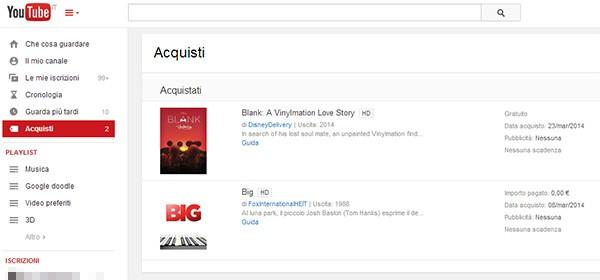 """I film comprati sulla piattaforma Google Play Movies, a partire da oggi, sono accessibili anche tramite la sezione """"Acquisti"""" di YouTube"""