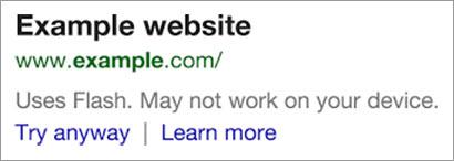 """Google avvisa i navigatori nelle SERP per le pagine con elementi in Flash: """"Potrebbe non funzionare sul vostro dispositivo""""."""