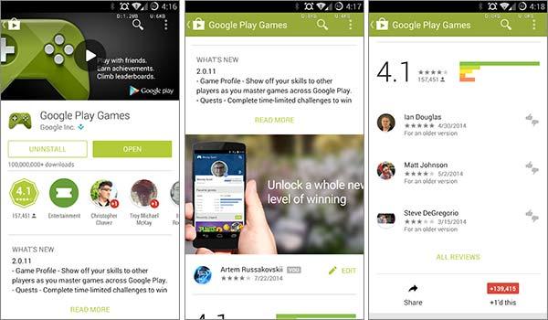 La nuova interfaccia del Play Store sui dispositivi Android, con l'introduzione del Material Design