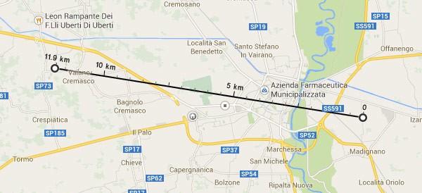 Google Maps: un esempio di come funziona la misurazione delle distanze in linea d'aria
