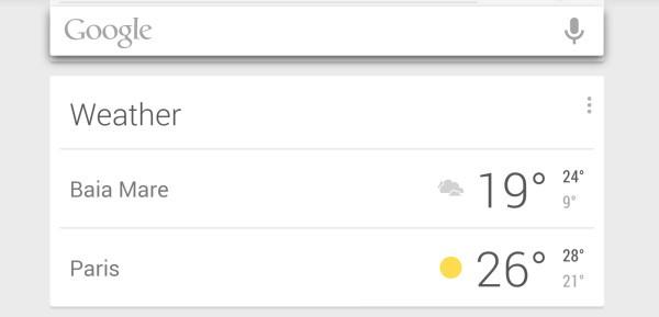 La scheda di Google Now relativa alle previsioni meteo mostra ora le temperature massime e minime anche quando sono visualizzate più località