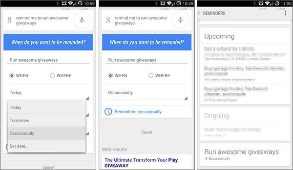 """La scheda di Google Now per l'inserimento dei promemoria visualizza ora la voce """"Occasionalmente"""" relativa alla frequenza dell'evento"""