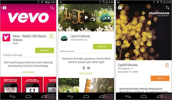 Il restilyng del Play Store in stile Material Design, visto da uno smartphone