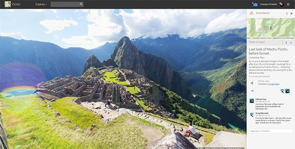 Uno scatto Photo Sphere su Google Views (a destra la nuova sezione dedicata ai commenti)
