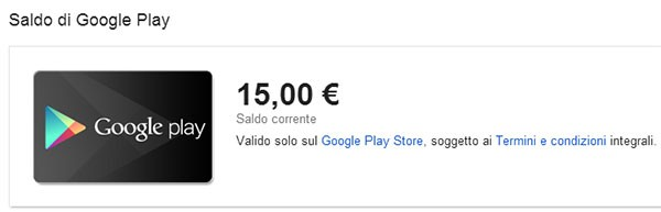 Google Play, carte regalo: il saldo disponibile da spendere su Play Store