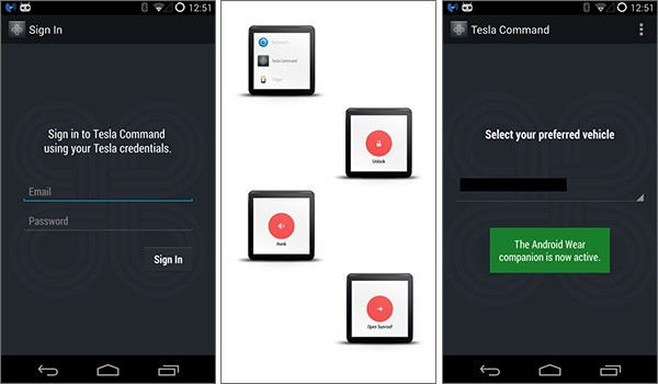 Screenshot per l'applicazione Tesla Command for Android Wear su smartphone Android