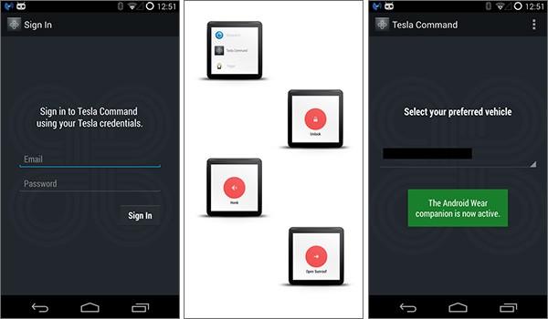 Screenshot per l'applicazione Tesla Command for Android Wear su smartphone Android