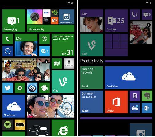 wp-update1Windows Phone 8.1 Update 1 - Live Folders