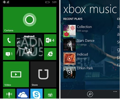 Windows Phone 8.1 Update 1 Xbox Music