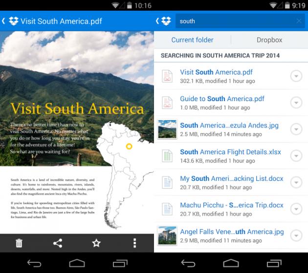 Anteprime dei documenti e smart search in Dropbox per Android.