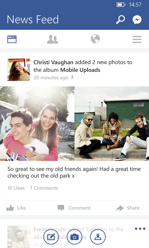 Il nuovo design di Facebook per Windows Phone.