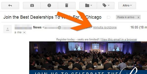 Il link per la rimozione rapida dalle newsletter integrato da Google nella casella Gmail