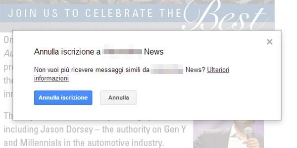 Un messaggio chiede di confermare l'annullamento dell'iscrizione alla newsletter