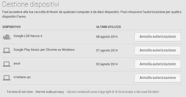 La gestione dei dispositivi autorizzati su Google Play Music