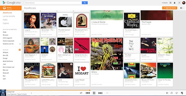 L'interfaccia desktop di Google Play Music, con abbonamento Unlimited