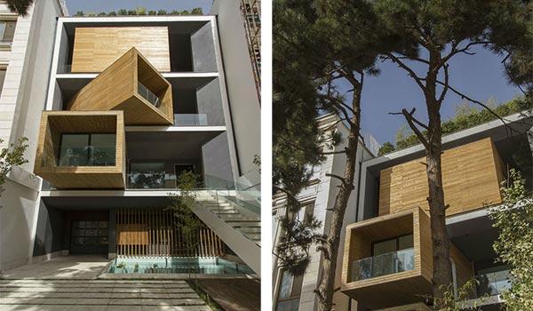 Due immagini mostrano i moduli mobili della Sharifi-ha House