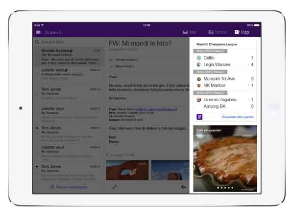 Un esempio di servizio mail unificato su un iPad: da Yahoo Mail è possibile anche seguire in temporeale i risultati sportivi, o i titoli delle azioni.