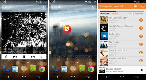 """Le novità di Google Play Music su Android: widget ridimensionabile, widget 1x1""""Mi sento fortunato"""" e gestione dei download"""