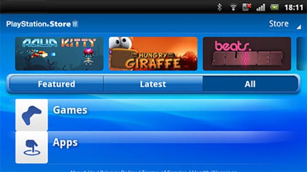 L'interfaccia dell'applicazione PlayStation Mobile su tablet Android
