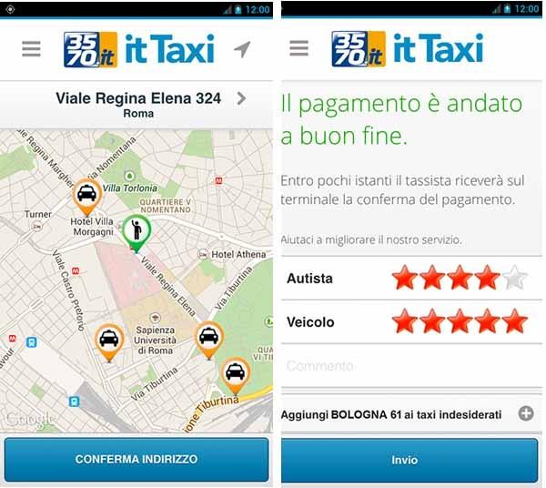 L'applicazione IT Taxi fa networking di 10 mila taxi in Italia, nelle principali città. Si basa sullo stesso funzionamento del radiotaxi, ma aggiunge la geolocalizzazione, il pagamento online e il giudizio degli utenti. Escluso il calcolo algoritmico del costo della corsa, che ovviamente rispettano le tariffe imposte.