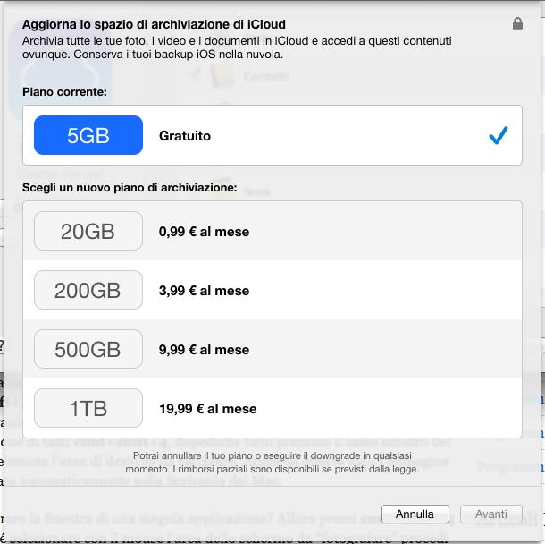 Nuovi prezzi per i piani di archiviazione iCloud