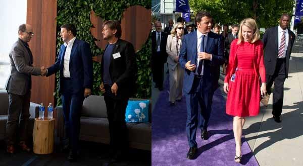 Matteo Renzi, 22 settembre 2014. Il premier italiano ha visitato le sedi di Twitter e Yahoo. Qui con i CEO Dick Costolo e Marissa Mayer. Nella foto di sinistra, al fianco di Renzi, Paolo Barberis. Il fondatore di Dada e Nana Bianca è consulente di palazzo Chigi.