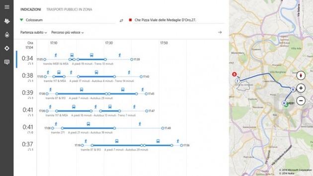 La ricerca delle direzioni a Roma con Bing Maps.