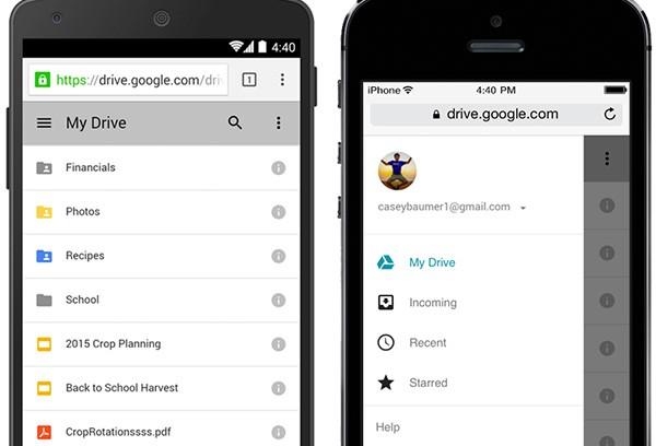 La nuova interfaccia della versione Web di Google Drive, accessibile dal browser su smartphone e tablet