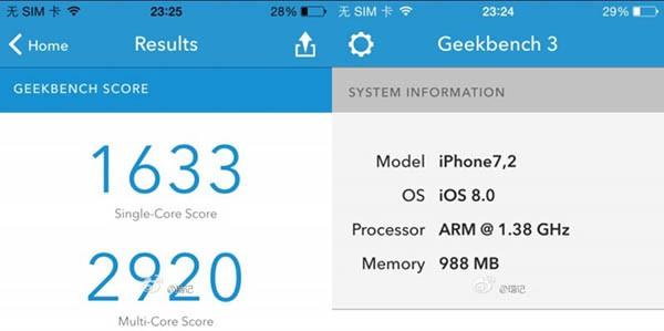 Geekbench di iPhone 6