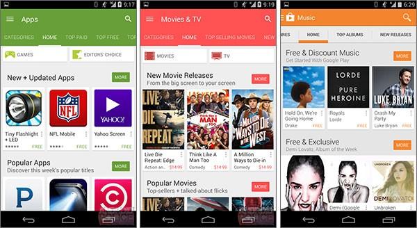 La nuova interfaccia dell'applicazione Play Store, dopo il restyling che introdurrà il Material Design