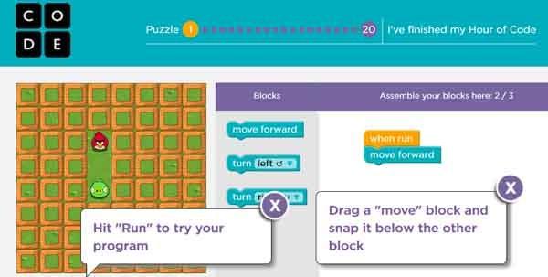 Un esempio di gamification dell'hour of code: i bambini sono invitati a usare personaggi a loro noti (quelli di Angry Birds) dentro un labirinto. Per spostarli però devono usare dei comandi scritti, molto simili a quelli di un codice di programmazione. La conclusione dei venti giochi porta alla fine della prima ora.